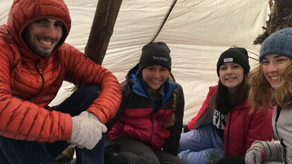 hikers in a shelter