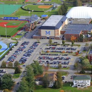 Aerial view of Memorial Gym and parking lot