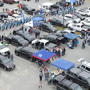 Aerial view of tailgating in UMaine parking lot