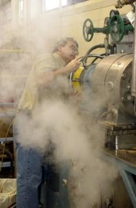 Keith Hodgins engulfed in steam at the PDC