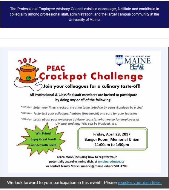 2017 Crockpot Challenge, Friday April 28, Bangor Room, Memorial Union, 11am-1:30pm
