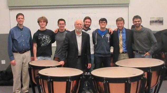 stuart marrs with students and timpani