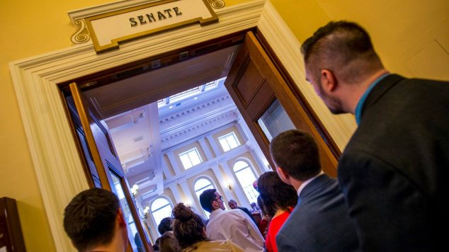 Students entering Maine Senate.