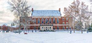Fogler Library in winter