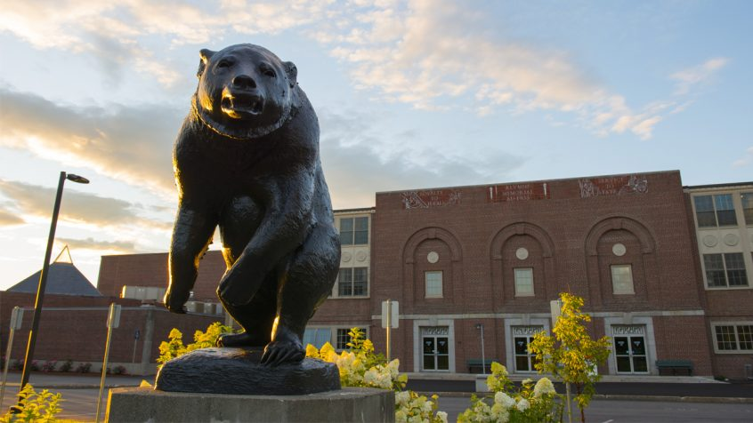 Bear statue in front of Memorial Gym