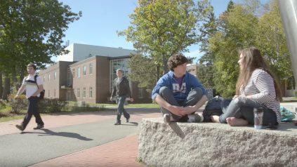 Students in MLK plaza