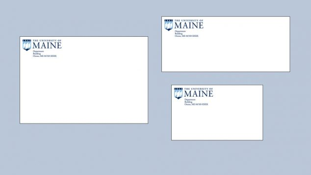 University of Maine envelopes of differing sizes