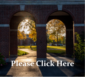 """Autumn sun filters through brick arches on campus with the words """"Please Click Here"""" in white at the bottom."""