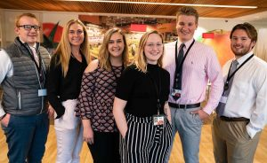 Corporate Classroom students pose at the Hannaford headquarters in Scarborough