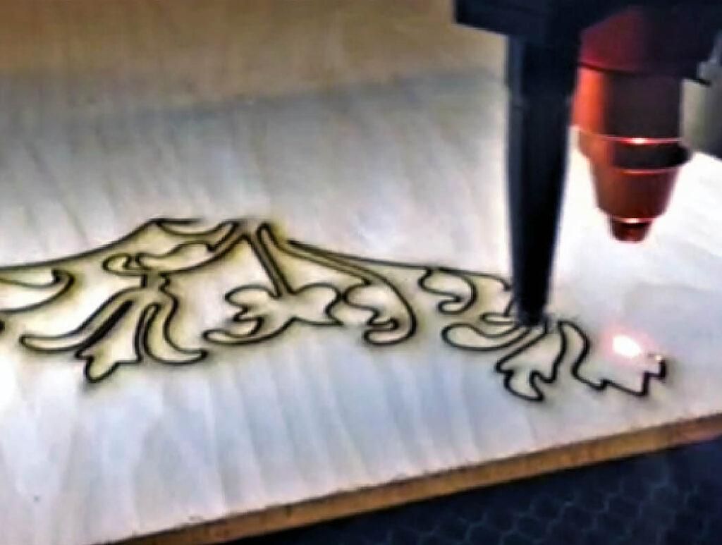 Laser cutting in wood