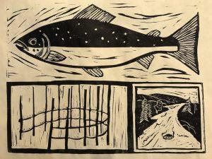 Woodblock print of weir