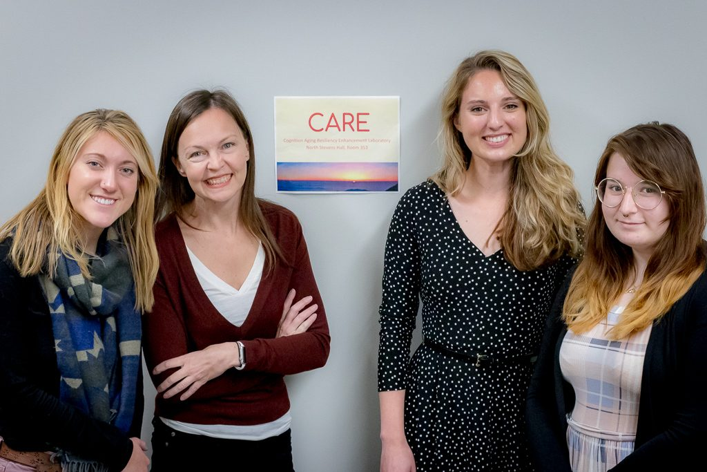 Zoe Brown, Dr. MacAulay, Angelica Boeve, and Amanda Laverdiere in the Cognition Aging Resiliency Enhancement (CARE) Lab