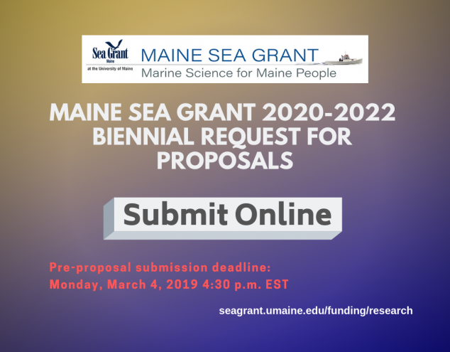 Submit online for the 2020-22 Maine Sea Grant Proposals