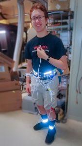 Stewart Doe wearing sensor harness