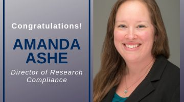 Congratulations Amanda Ashe, Director of Research Compliance