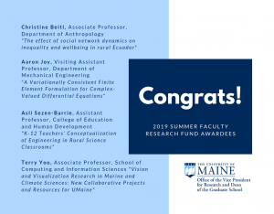 Congrats to the 2019 Summer Faculty Research Fund Awardees
