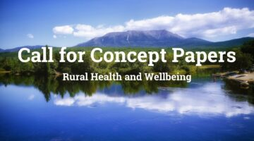 Call for Concept Papers words with mountain and trees and lake background