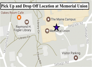 Map of UMSS17 transportation pick up / drop off location at UMaine Campus