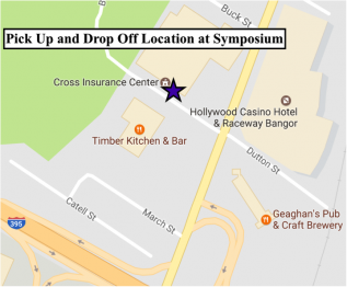 Map of UMSS17 pick up / drop off location at Cross Insurance Center, Bangor Maine