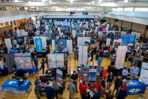 aerial shot of employment fair