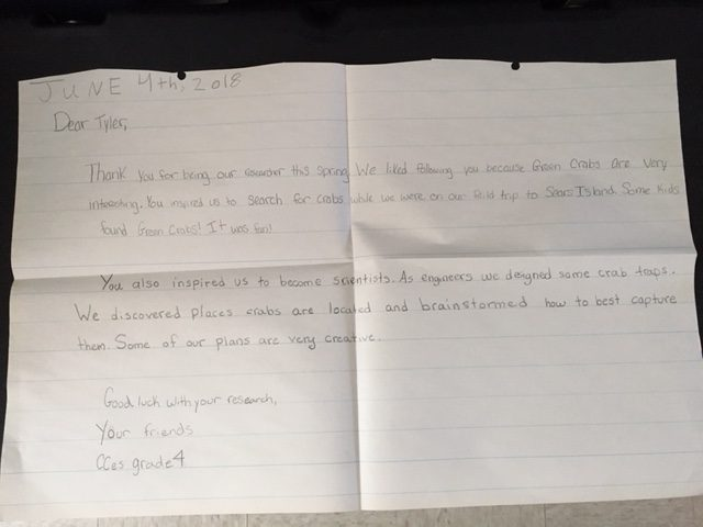 Letter to researcher from fourth-grade class