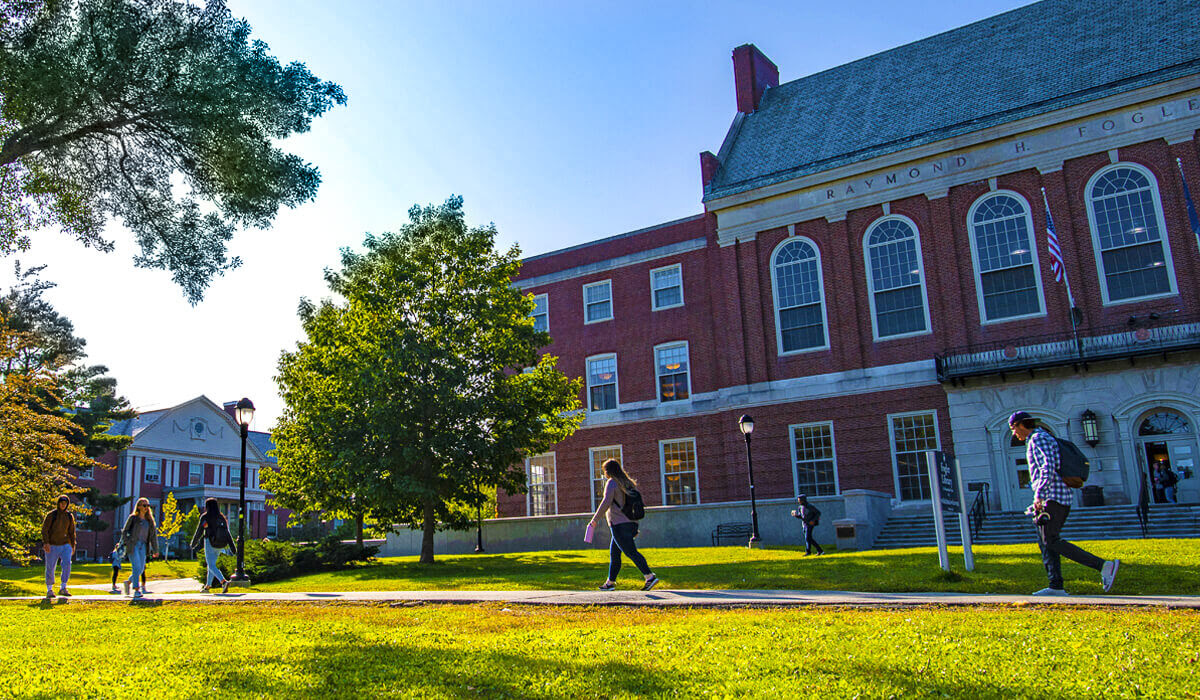 View of Fogler Library from campus mall