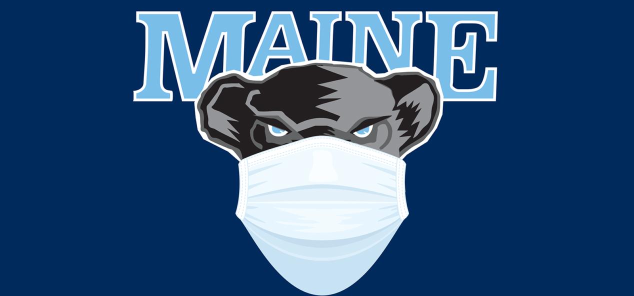 UMaine Black Bear mascot with mask