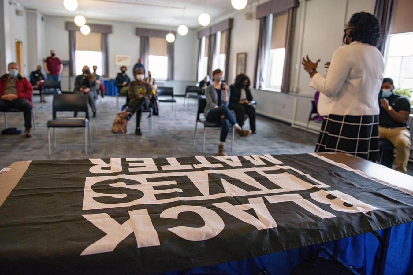 A Black Lives Matter flag raising kicked off UMaine's Black History Month observance.
