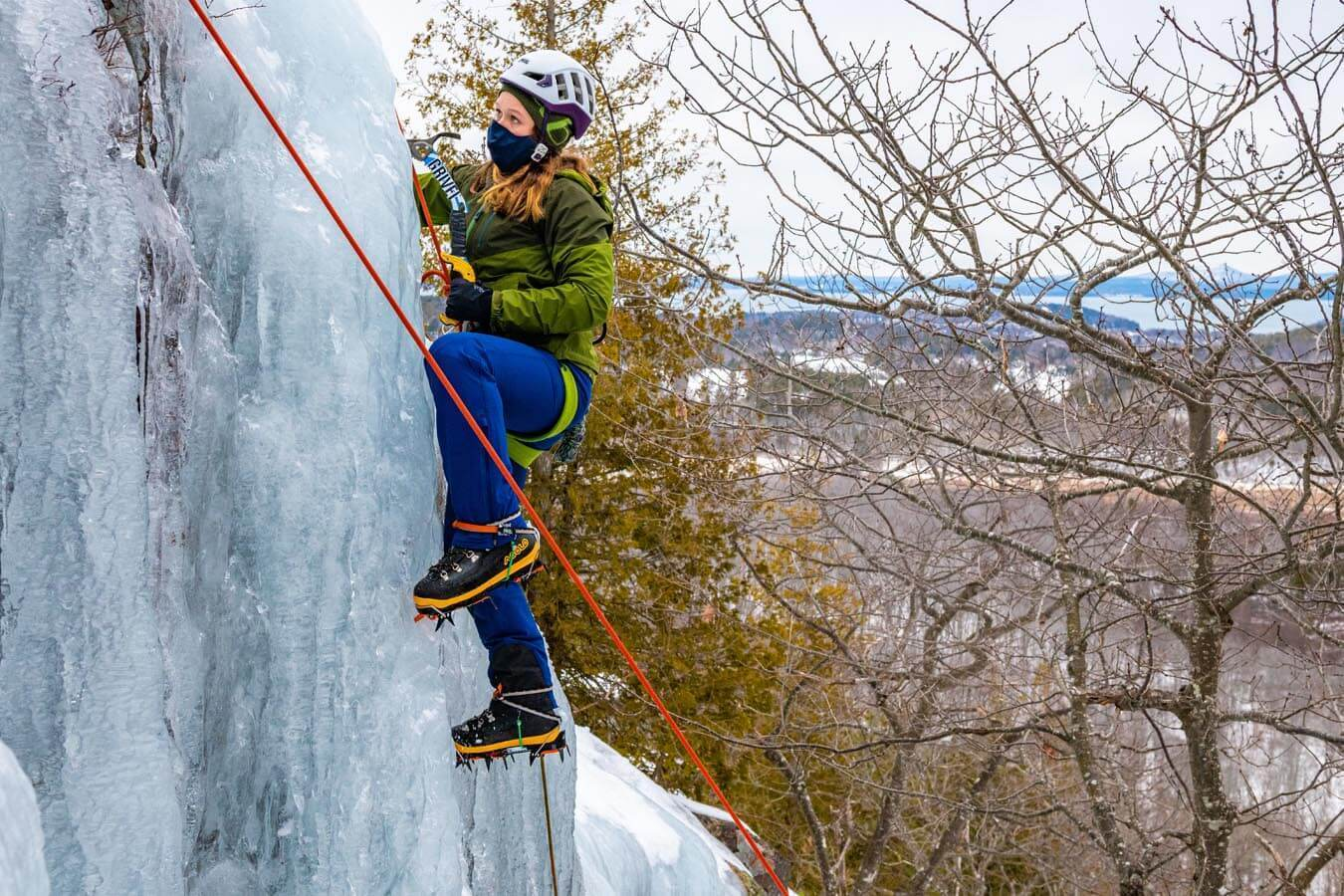 MaineBound student employees training to teach ice climbing during a trip to Acadia National Park.