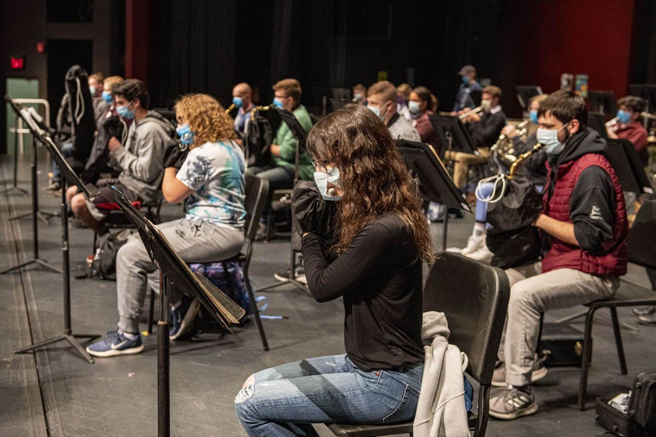The Symphonic Band rehearses  in the Collins Center for the Arts.