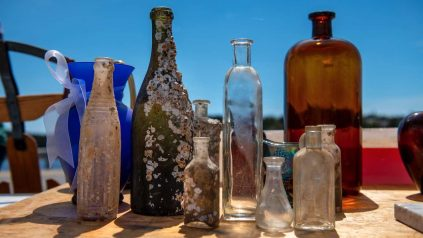 bottles on a table
