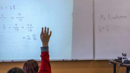 A student raises their hand