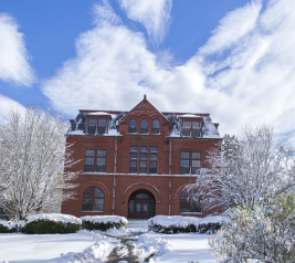 Photo of Coburn Hall in snow