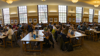 Photo of students in Fogler Library reading room