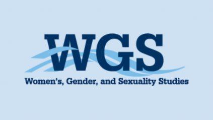 Women's, Gender & Sexuality Studies logo on blue background