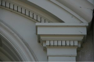 architectural detail on library exterior