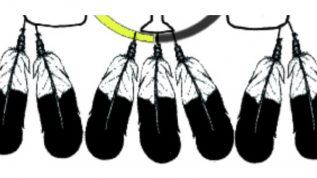 Black and white image of feathers representing Native American Programs