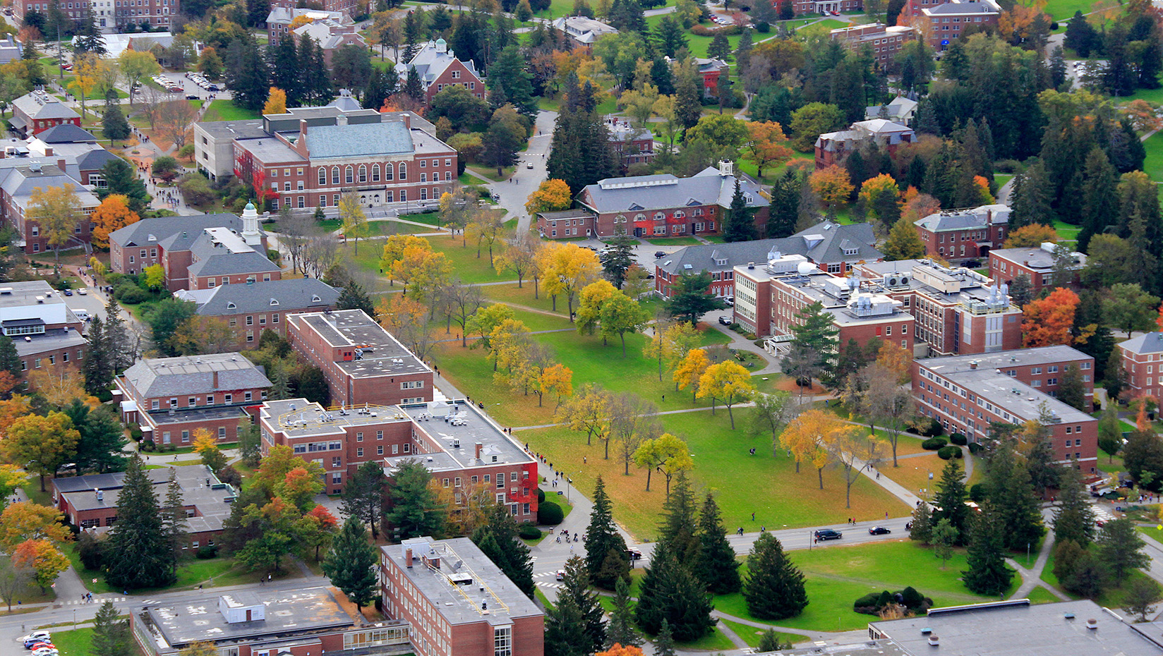aerial view of the mall at umaine