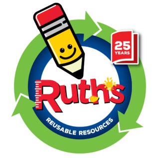 ruth's reusable resources 25 year anniversary logo
