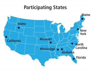 A map of the US depicting the locations of the 9 SMART INCLUDES partners (Maine, New York, N. Carolina, Florida, Alabama, Mississippi, Missouri, Idaho, and California)