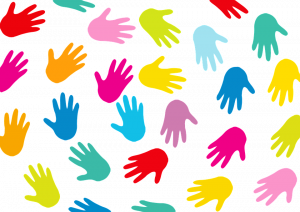 multicolored hands in a circle