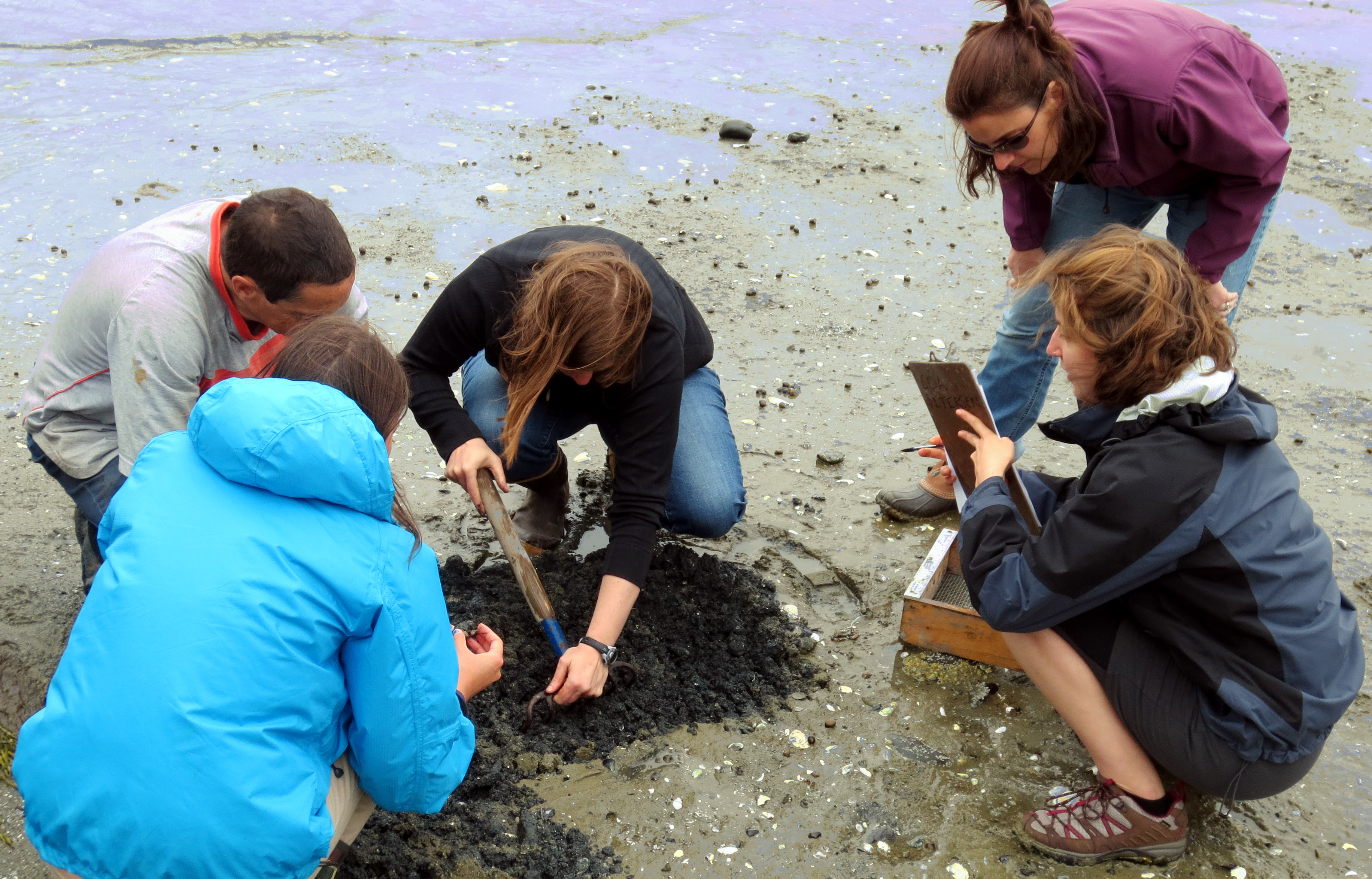 Faculty and students learn about shellfish harvesting practices from a member of the industry as part of a research project.