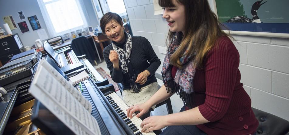 Piano lesson candid