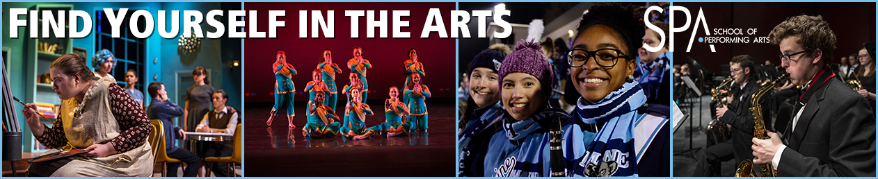 panel of images showing students in theatre, dance, marching band, and symphonic band