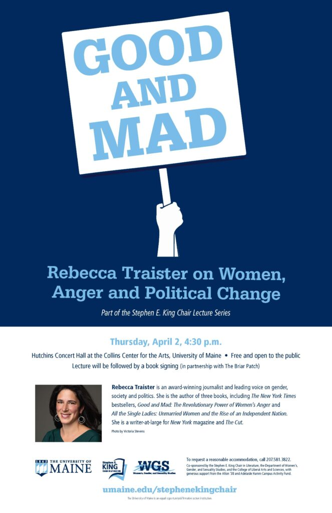 Poster Promoting April 2nd talk by Rebecca Traister