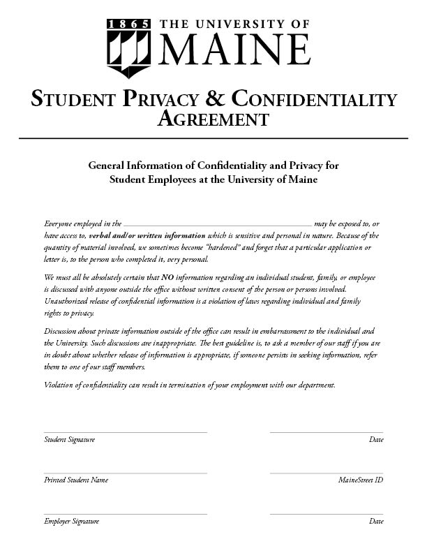 Confidentiality Policy  Sample  Student Employment  University Of