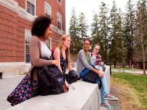 Students outside Fogler Library