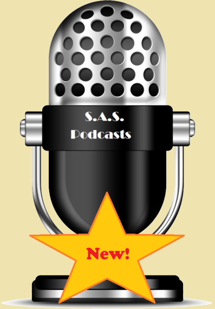 """Microphone labeled """"S.A.S. Podcasts"""" with a star that is labeled """"New!"""""""