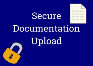 Secure document upload link showing a lock and a document icon