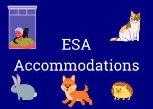 """Clickable button labeled """"ESA Accommodations"""" with cartoon animals"""